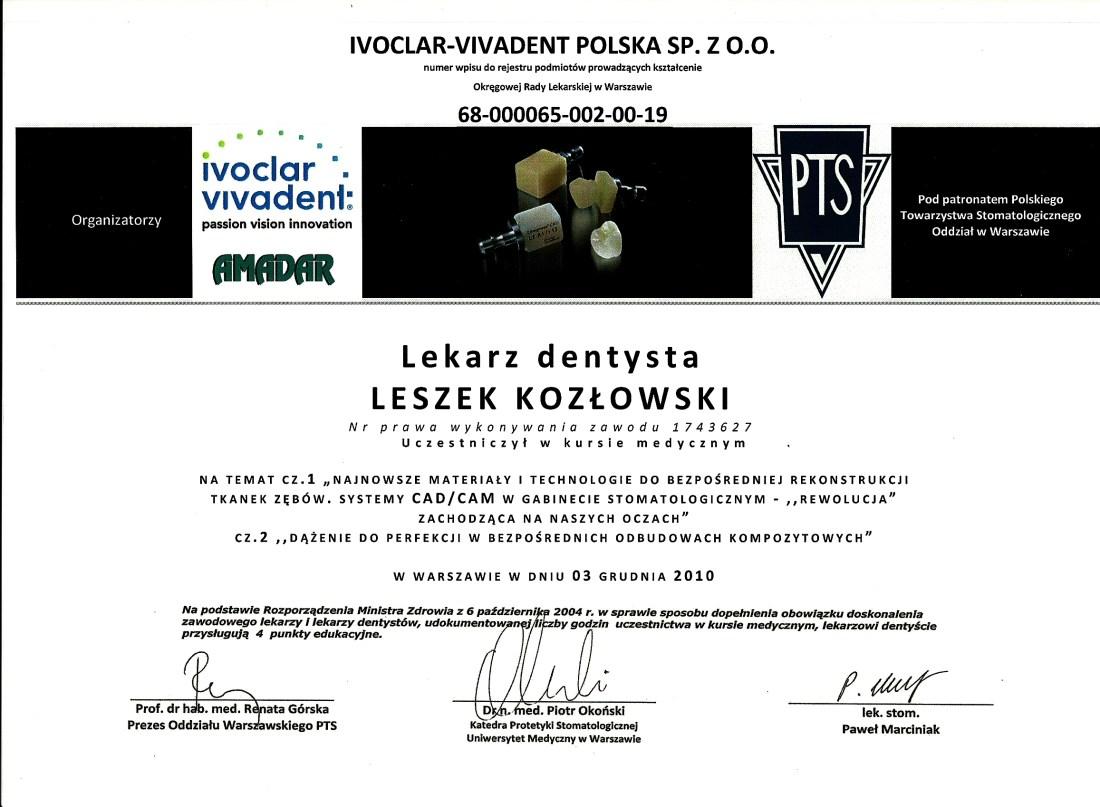 dentysta warszawa DENTYSTA WARSZAWA – DENTOKLINIKA Dentysta warszawa Leszek Kozlowski Certyfikat 20 1
