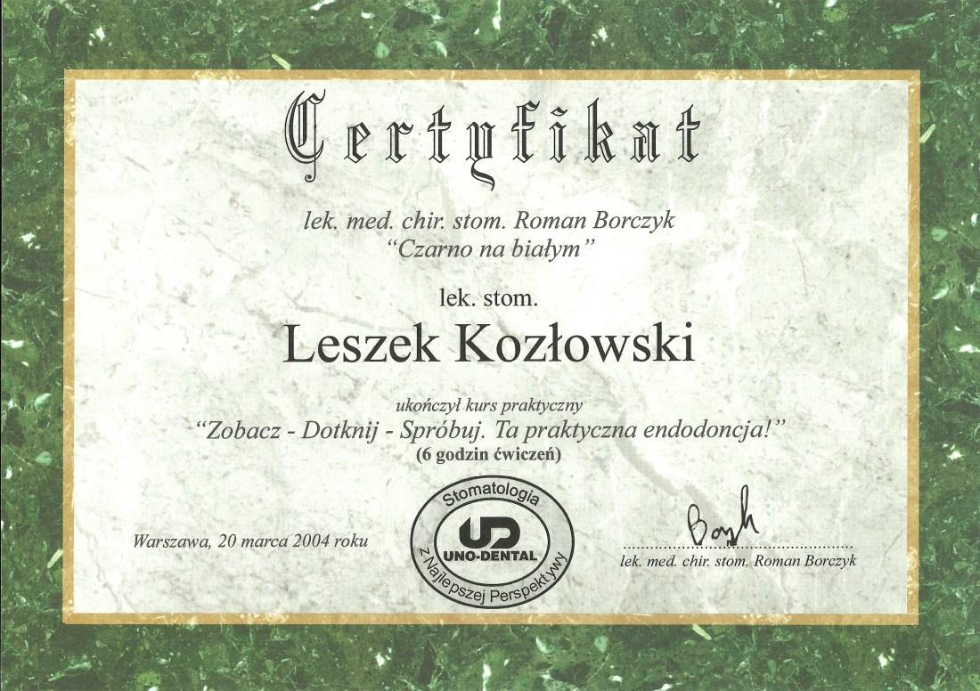 dentysta warszawa DENTYSTA WARSZAWA – DENTOKLINIKA Dentysta warszawa Leszek Kozlowski Certyfikat 20