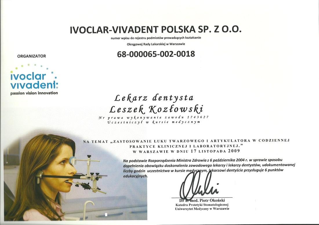 dentysta warszawa DENTYSTA WARSZAWA – DENTOKLINIKA Dentysta warszawa Leszek Kozlowski Dyplom5