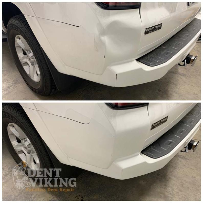 Paintless Dent Repair on Toyota 4Runner Plastic Bumper in Spokane