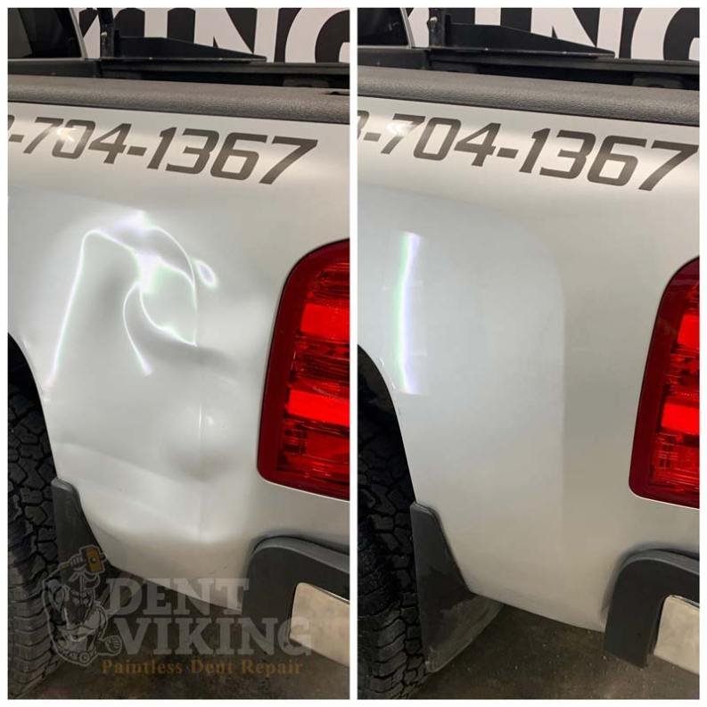 Paintless Dent Repair on Chevrolet Bedside Smash in Hayden