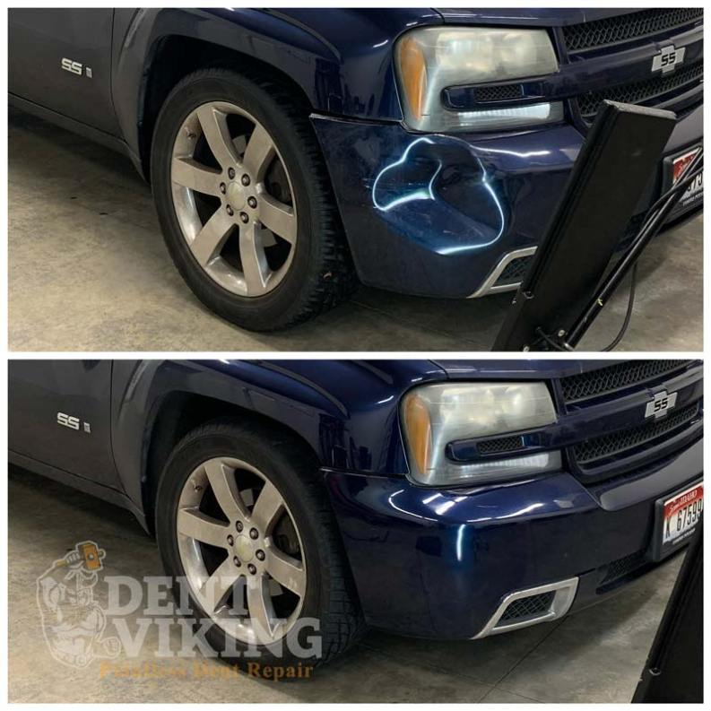Paintless Dent Repair on Chevy Trailblazer Bumper in Post Falls