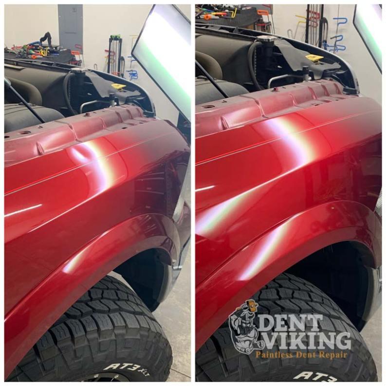 Paintless Dent Repair on Dodge 1500 Fender in Hayden