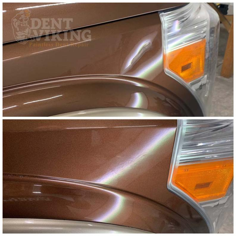 Paintless Dent Repair on Ford F350 Fender in Spokane