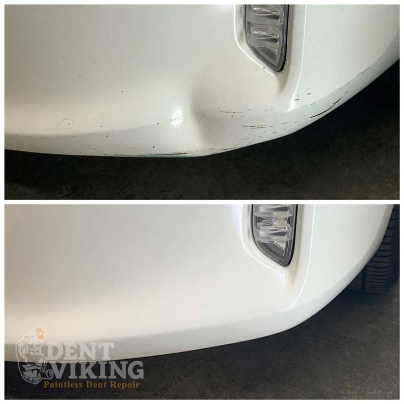 Paintless Dent Repair on Scion Plastic Front Bumper in Post Falls