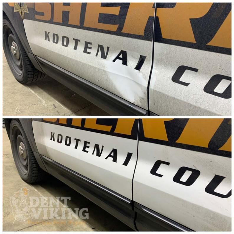 Paintless Dent Repair on Ford Police Cruiser Door in Coeur dAlene