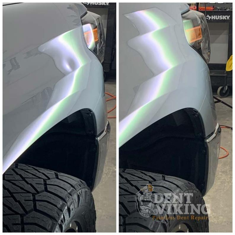 Paintless Dent Repair on Toyota Tundra Fender Dent in Liberty Lake