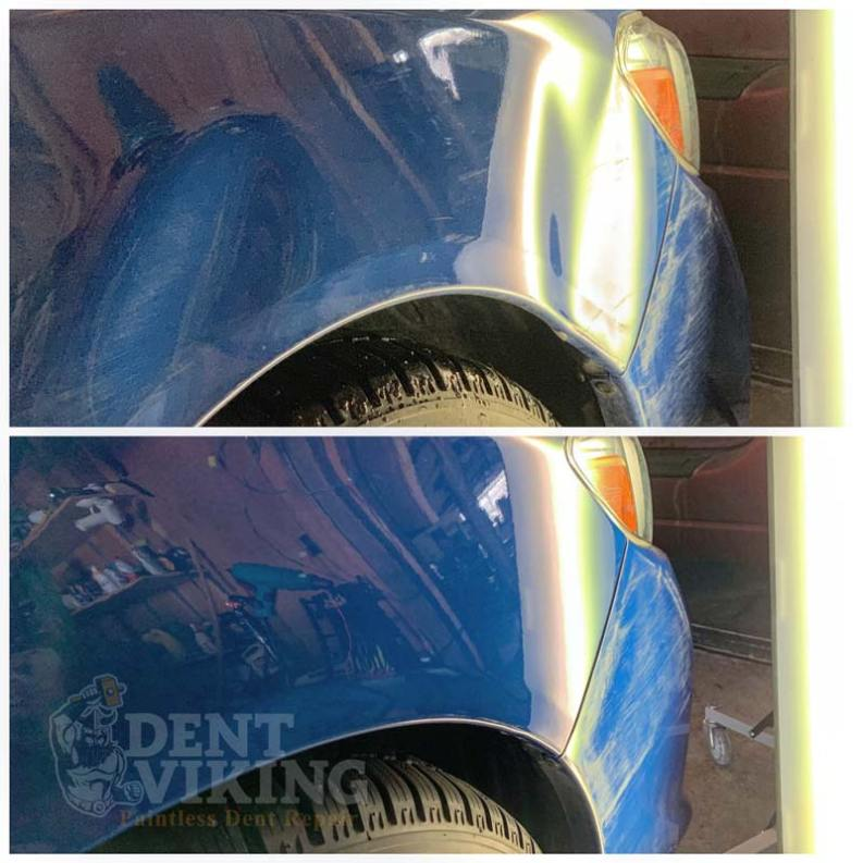 Paintless Dent Repair on Subaru WRX Fender in Liberty Lake