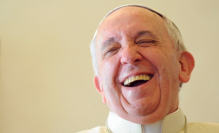 Pope Francis smiles during a private audience with Saint Vincent and the Grenadines' PM Gonsalves at the Vatican