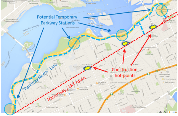 This plan might divert a large number of OC Transpo Transitway buses away from the Scott/Albert Corridor.