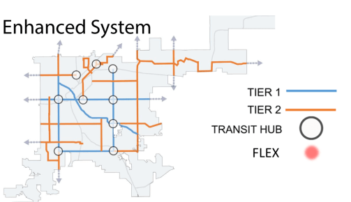 One Version of a hypothetical enhanced transit system. Image: CU Denver.