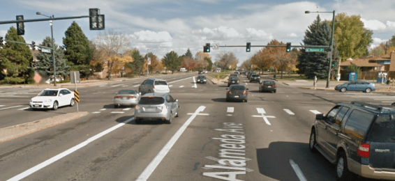 Dangerous intersections where 15 lanes meet are the real threat to pedestrians. Image: Google Maps