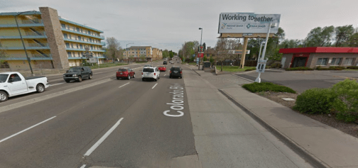 The driveway and section of Colorado Boulevard where the bike rider was killed. Image: Google Maps
