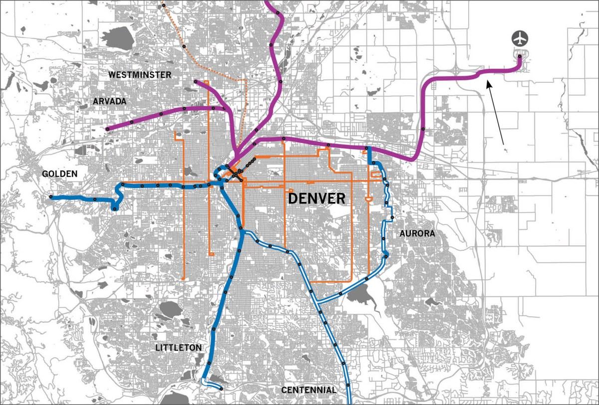 Denver's Buses and Trains Are Not Useful to Most People. A ... on denver college, denver schools map, denver bike paths, denver culture map, denver rtd zones, denver taxi map, denver zip code boundary map, denver trails map, denver toll map, denver surrounding cities, denver freeways, denver rtd map, denver tourism map, denver hotels map, denver lrt map, denver beer company, denver bus system, denver national airport, denver mugshots, denver region map,