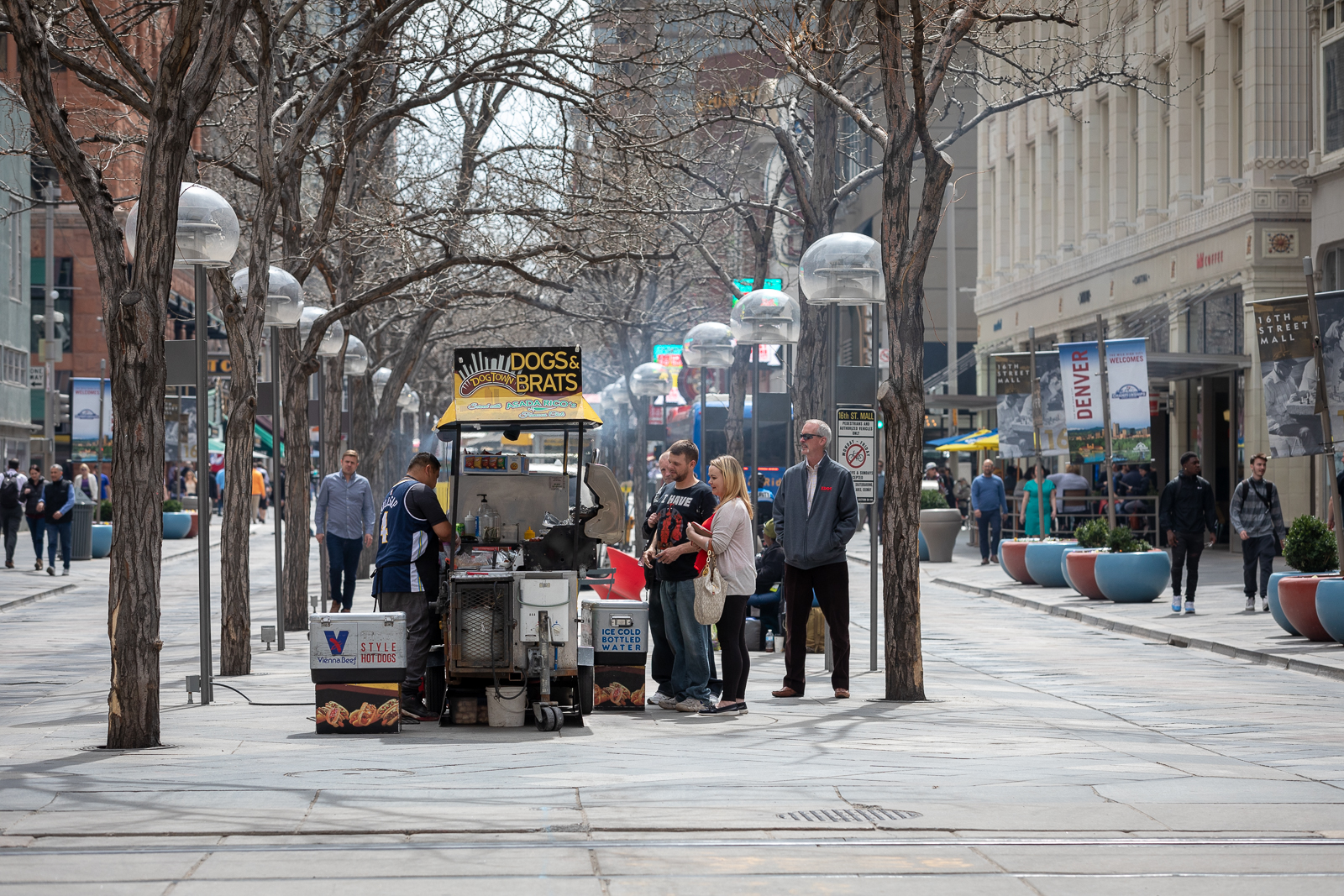 Under the renovation plans, buses would run in the center of 16th St., allowing for wider sidewalks where kiosks would be moved. Photo: Andy Bosselman