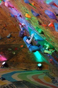 Angela Payne climbing at the Denver Bouldering Club