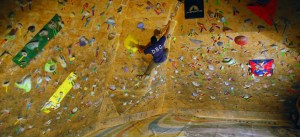 Kevin Brown climbing at the Denver Bouldering Club