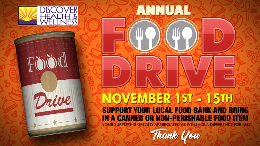 Discover Health and Wellness Thanksgiving Food Drive