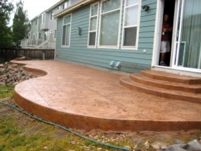 Custom Textured Concrete Patio and Steps