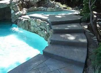 Custom Concrete Moss Rock Wall Jacuzzi and Denver Decorative Concrete Steps