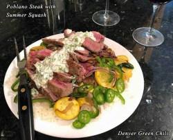 Poblano Steak with Summer Squash