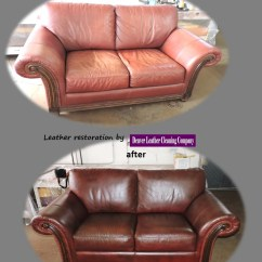 Leather Sofa Cleaning Repair Company Eq3 Reverie Denver Restoration Before And By Looks Like New
