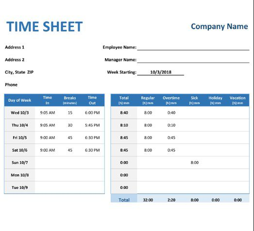 Overview of all products overv. Free Timesheet Template In Excel Word Pdf Weekly Monthly
