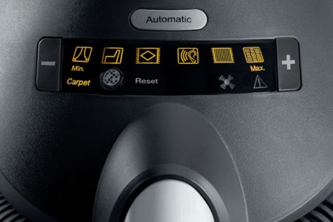 Miele Automatic and Digital Suction Control on the AutoEco Upright Vacuum Cleaner Controls via +/-
