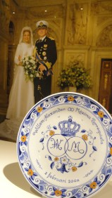 Prato comemorativo do casamento do rei Alexander e da rainha Maxima