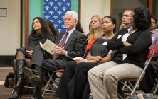 """Bernie Milano, president of KPMG Foundation, listens as the Driehaus College of Business hosted a fireside chat Tuesday, Nov. 17, 2015, entitled """"Business and Business School Diversity"""". (DePaul University/Jamie Moncrief)"""