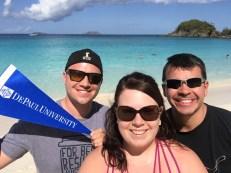 Oliver Debe (BUS '13), Sarah Albert (CMN '09) and Juan Mendez (LAS '07, BUS MS '16) in St. Thomas, U.S. Virgin Islands.