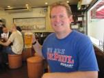 Paul Nockels (BUS '92) at a restaurant in Tokyo.