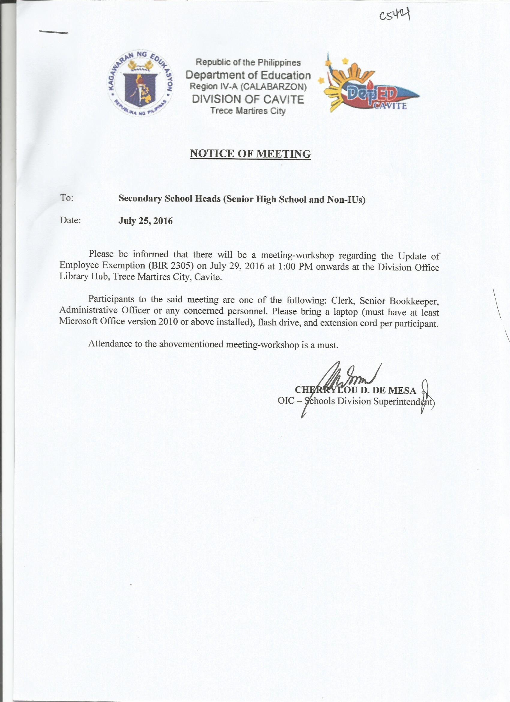 July 2016  DepEd Cavite