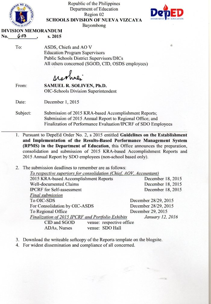 KRA-based Accomplishment Reports of SDO Employees Only | depednvrecords
