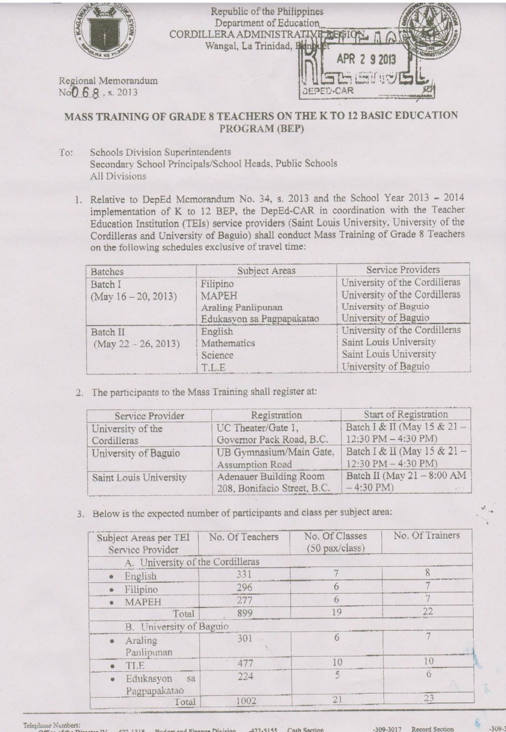 medium resolution of Regional Memo No. 68 S. 2013 Mass Training of Grade 8 Teachers on the K to  12 Basic Education Program (BEP)