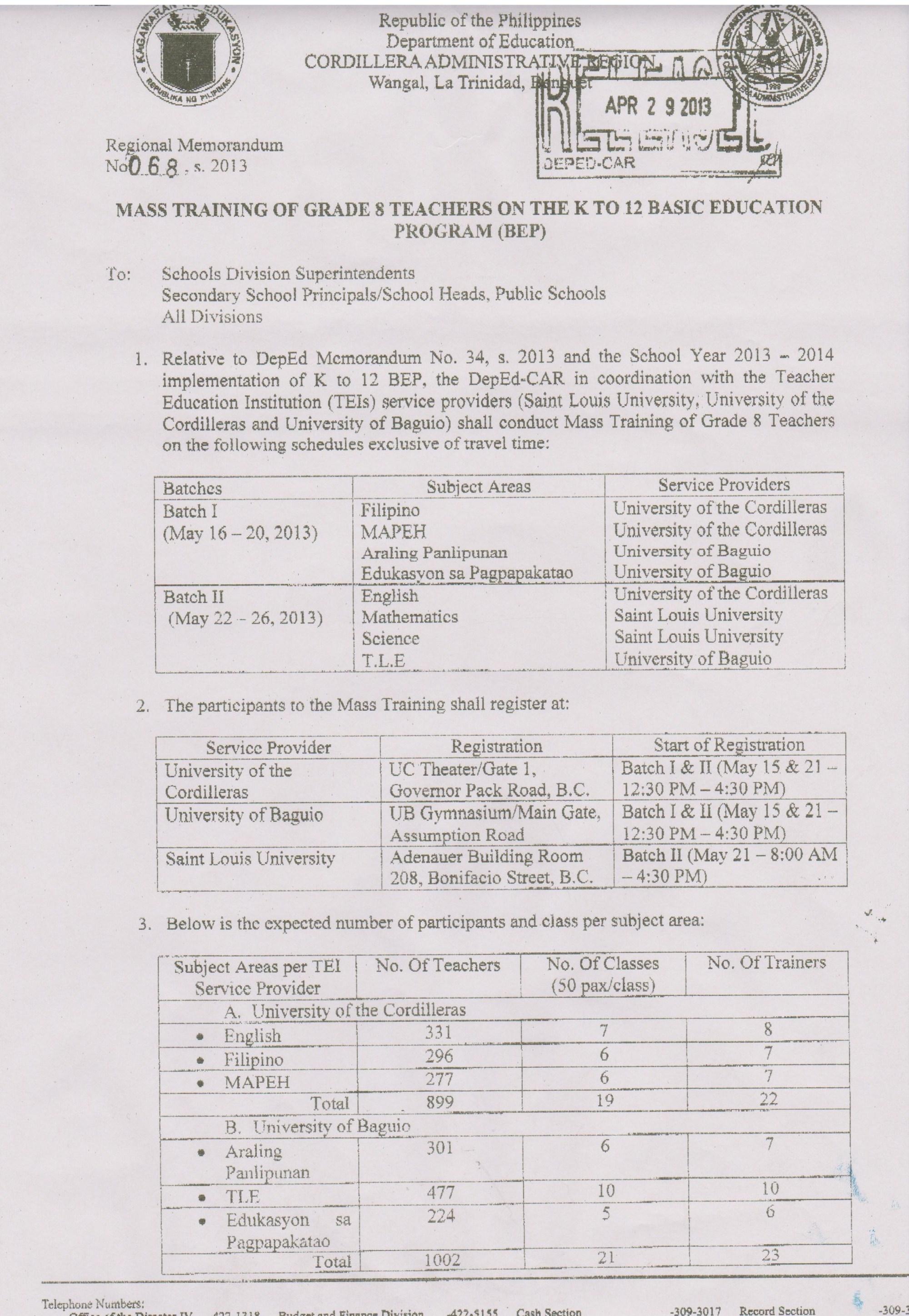 hight resolution of Regional Memo No. 68 S. 2013 Mass Training of Grade 8 Teachers on the K to  12 Basic Education Program (BEP)