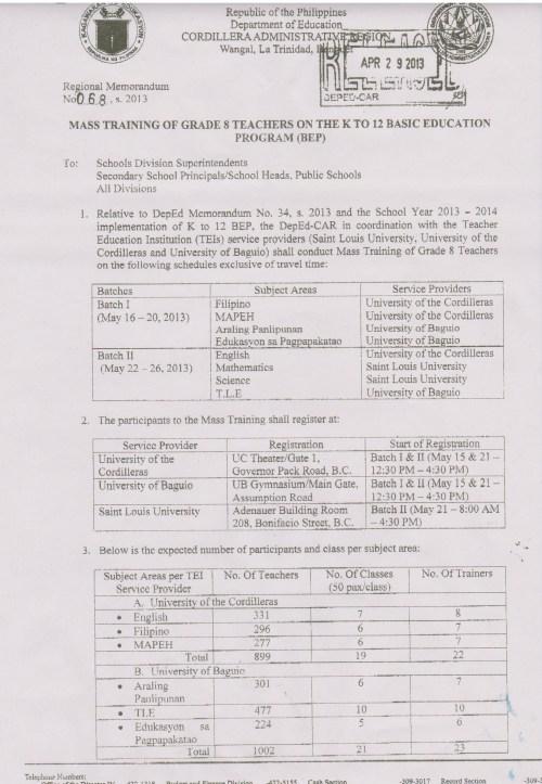 small resolution of Regional Memo No. 68 S. 2013 Mass Training of Grade 8 Teachers on the K to  12 Basic Education Program (BEP)