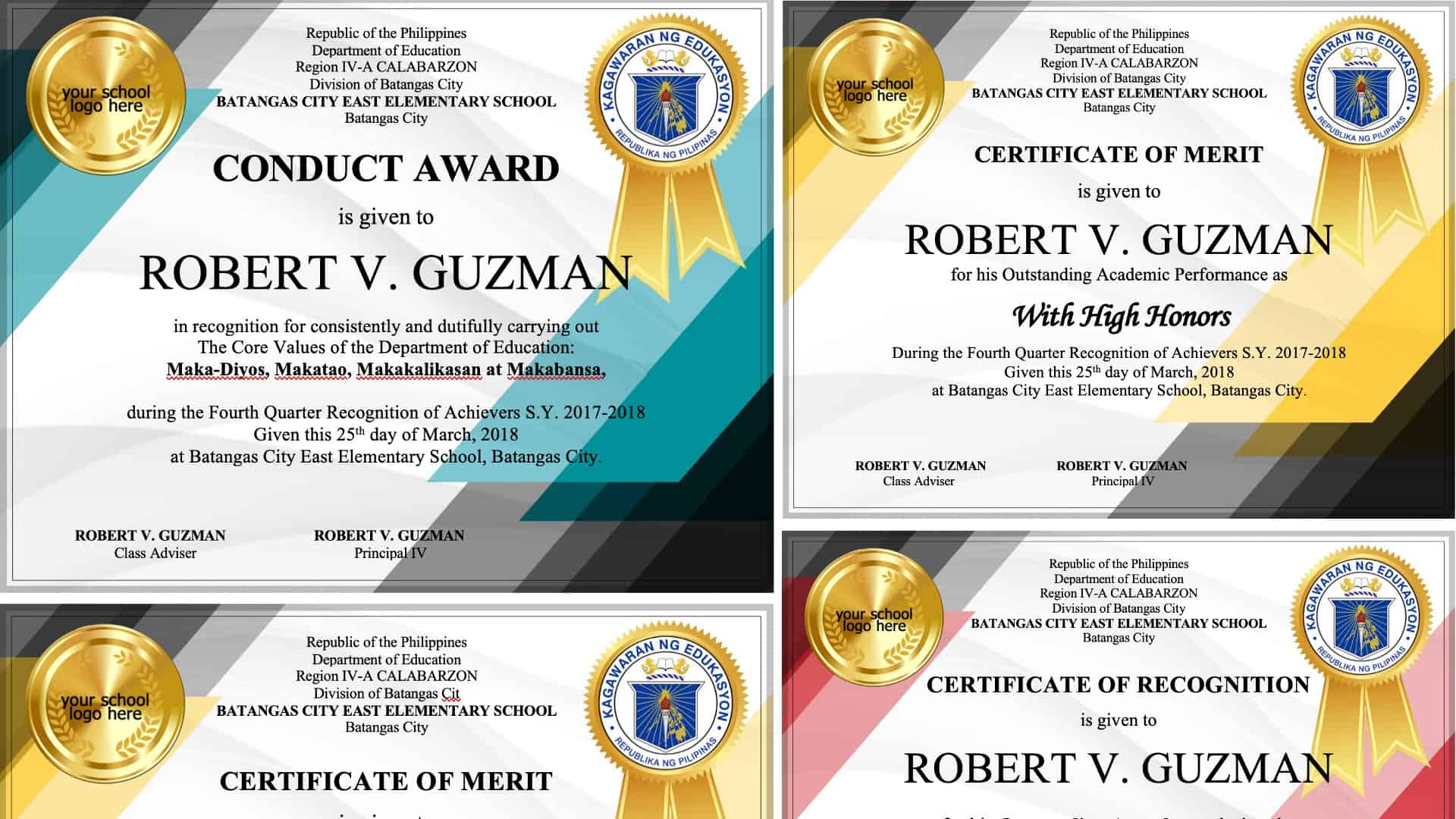 Certificates Editable Templates Free Download