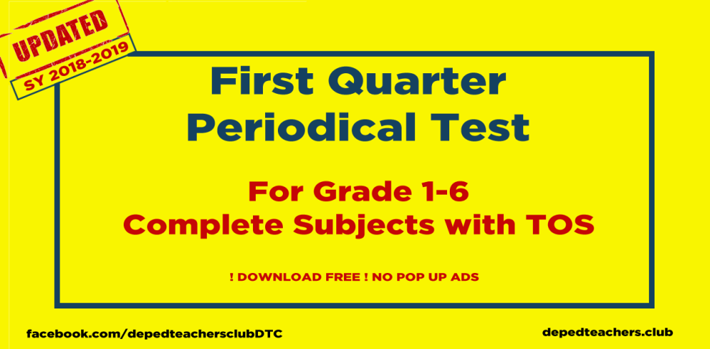 medium resolution of 1st Quarter Deped Periodical Test Grades 1-6 All Subjects - Deped Teachers  Club