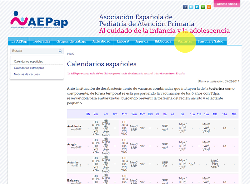 página AEPap calendario de vacunas