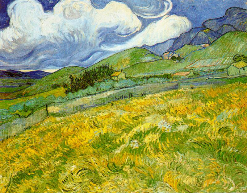 Paisaje montañoso detrás del Hospital Saint Paul Van Gogh
