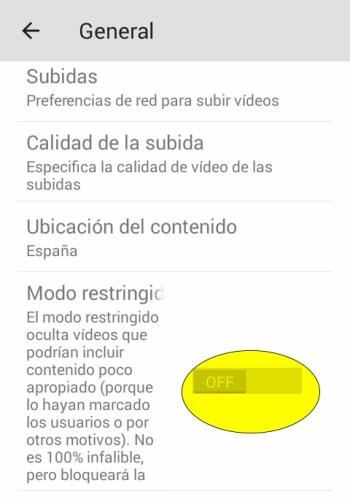 activación modo restringido smartphone