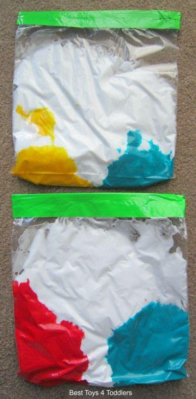 bolsa sensorial con crema de afeitar y pintura