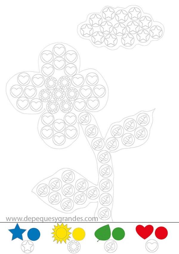 lámina flor y nube con gomets