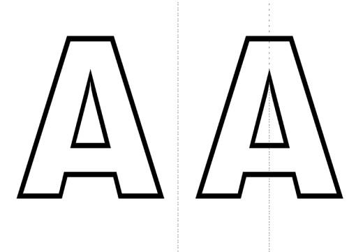 vocales y simetría lámina con letra A