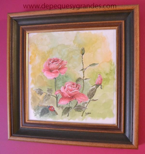 acuarela rosas con mariquita enmarcada