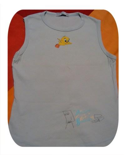 pintura sobre camiseta terminada