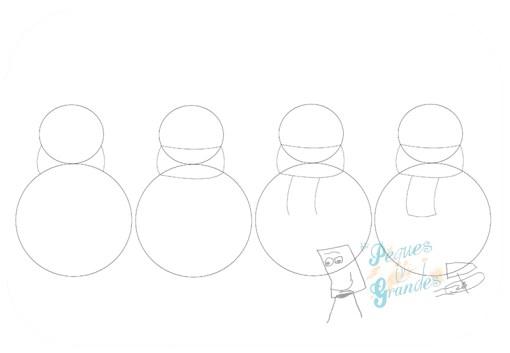 paso 2 dibujo muñeco de nieve