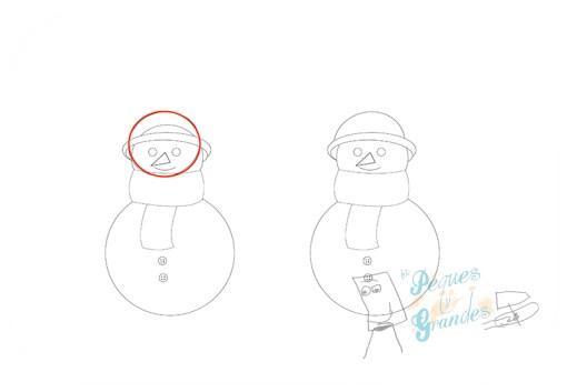 paso 5 dibujo muñeco de nieve