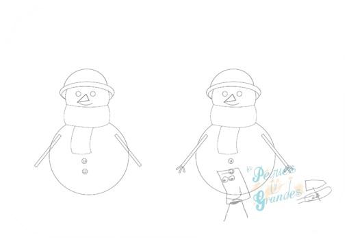 paso 6 dibujo muñeco de nieve